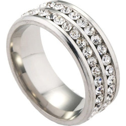 Double Row Diamond Stainless Steel Ring
