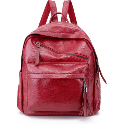 Tassels Backpack Women Simple Wild Tide Soft Leather Backpack Simple College Wind School Bag