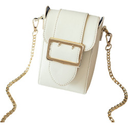 Woman'S Casual Fashion PU Leather Shoulder Evening Clutch Purse Crossbody Bag with Metal Chain Strap