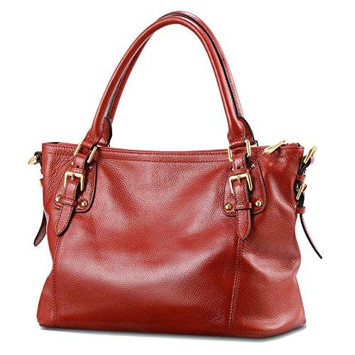 Kattee Women's Vintage Soft Leather Tote Shoulder Bag(Light Wine Red, Large)