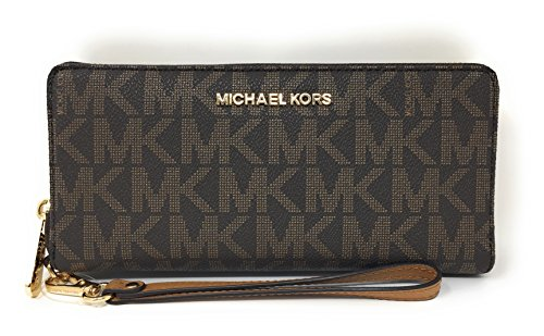 Michael Kors Jet Set Travel Monogram Zip Around Travel Wallet Wristlet (Brown / Acorn)