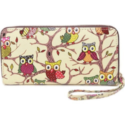 Owl Print Zip Around Wallet