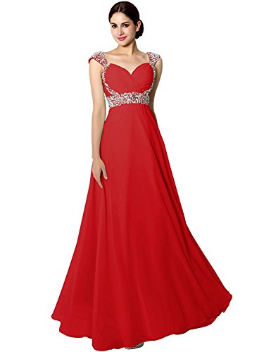 Sarahbridal Women's Long Chiffon A-line Beading Bridesmaid Dresses Prom Party Gowns Red US10