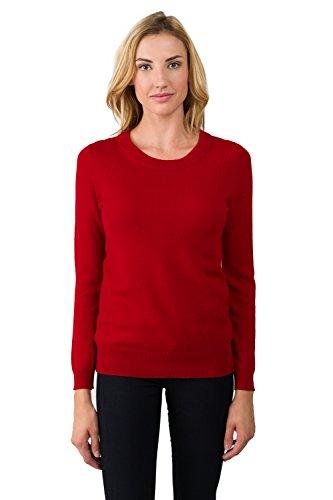 JENNIE LIU Women's 100% Pure Cashmere Long Sleeve Crew Neck Sweater (M, Red)