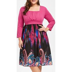 Plus Size Square Neck Tribe Print Dress