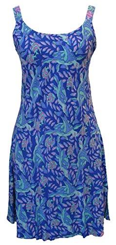 Rainbow Jo Womens Sea Turtles A Line Sundress BLUE XL/18-20
