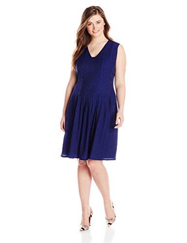 Anne Klein Women's Plus-Size Sheer Pique Degas Dress, Ultramarine, 14
