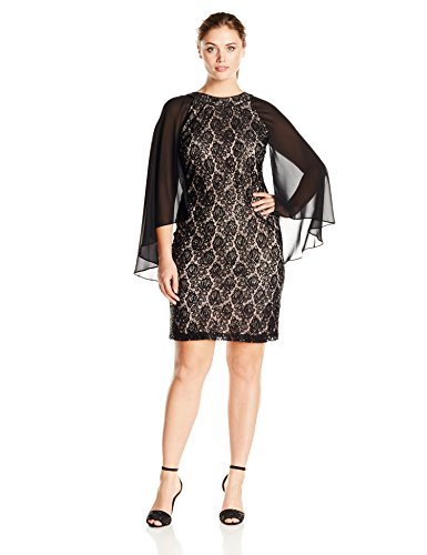 S.L. Fashions Women's Plus-Size Lace Sheath Dress with Cape, Black, 22W