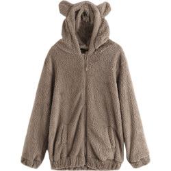 Women's Casual Fashion Big Size Hooded Fur Coat
