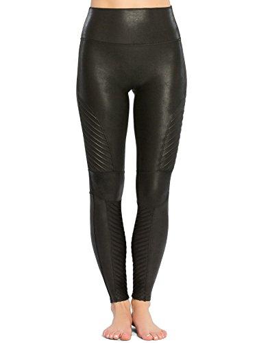 SPANX Women's Faux Leather Moto Leggings, Very Black, Small