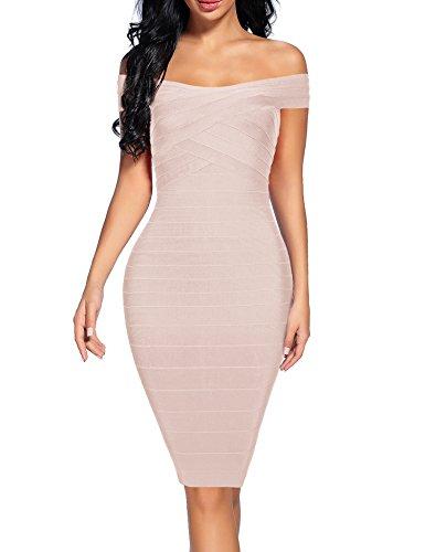 Women's Bandage Dress Off Shoulder Spaghetti Bodycon Club Party Dress (Beige, M)