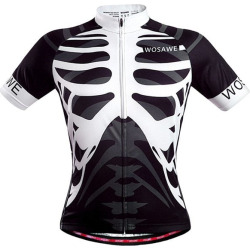 Skeleton Pattern Full Zipper Short Sleeve Summer Cycling Jersey