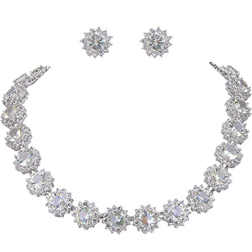 EVER FAITH Wedding Round Pave CZ Star Inspired Jewelry Set – Necklace Earrings