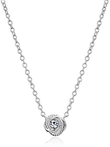 """Kate Spade New York """"Infinity and Beyond Clear/Silver Knot Mini Pendant Necklace"""