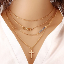 Infinity Beaded Crucifix Pendant Layered Necklace