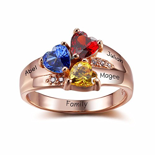 Lam Hub Fong Sterling Silver Mothers Rings with Birthstones, Choose 3 Birthstones 3 Names and 1 Engraving Customized and Personalized