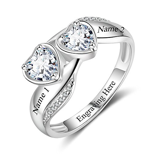 Lam Hub Fong Customized & Personalized – Engagement Rings Promise Rings For Her 2 Heart Birthstones Rings 2 Names & 1 Engraving Sterling Silver Rings For Women