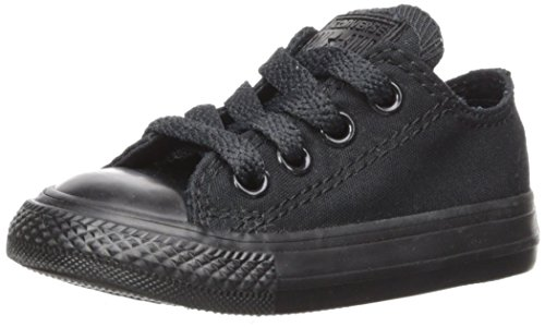 Converse Kids' Chuck Taylor All Star Canvas Low Top Sneaker, Black Monochrome, 12 M US Little Kid