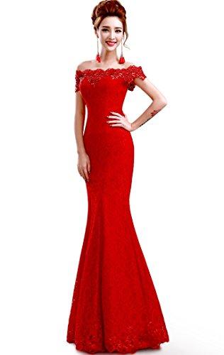 Babyonlinedress Babyonline Off Shoulder Lace Red Mermaid Evening Formal Bridesmaid Dress, Red, 12