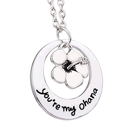 Family BBF Best Friends Necklace You are my Ohana Flower Pendant Gift (Style A)