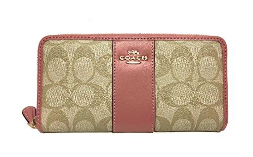COACH ACCORDION ZIP WALLET IN SIGNATURE F54630 (Lt Khaki/Vintage Pink)