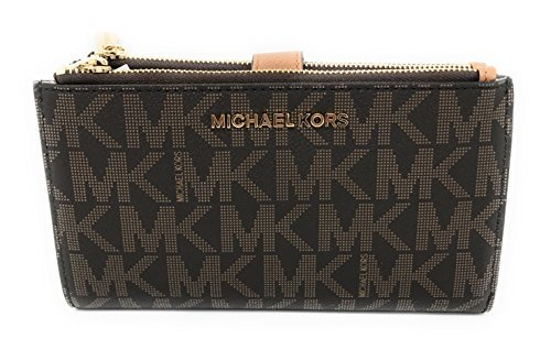 Michael Kors Jet Set Travel Double Zip Wristlet – Brown/Acorn