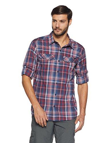 Columbia Men's Silver Ridge Plaid Long Sleeve Shirt, Medium, Collegiate Navy Plaid