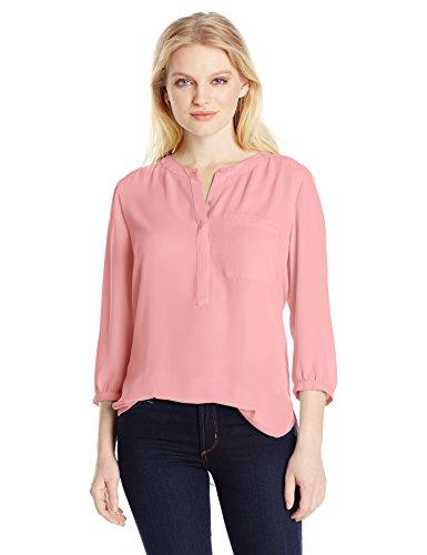 NYDJ Women's Petite 3/4 Sleeve Henley Pleat Back Blouse, Pink Salt, X-Small/Petite