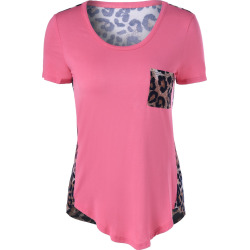 Short Sleeves U-Neck Leopard T-Shirt