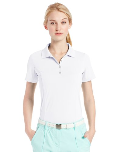 adidas Golf Women's Puremotion Solid Jersey Polo, White/Black, XX-Large