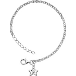 Little Diva Diamonds Sterling Silver Diamond Accent Star Bracelet – Kids, Girl's, Size: 5.50, White