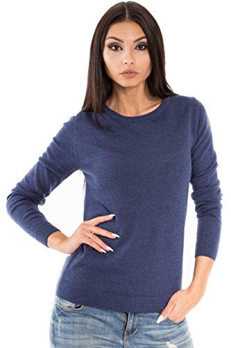 Women's Pure Merino Wool Classic Knit Top Lightweight Crew Neck Sweater Long Sleeve Pullover (Small, Navy Melange)