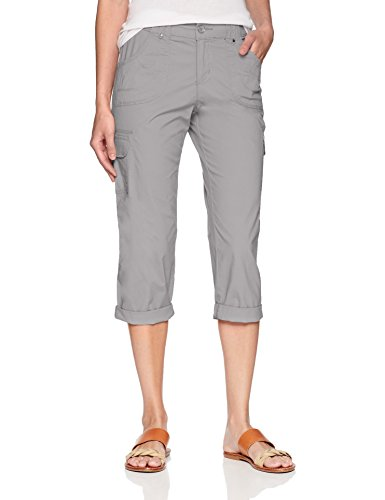 LEE Women's Relaxed Fit Nikki Knit Waist Cargo Capri Pant, Alloy, 10