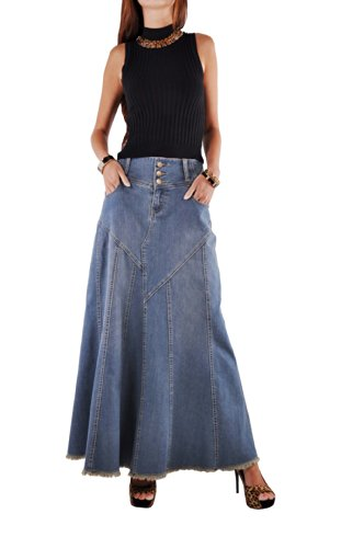 Style J Fantastic Flared Long Jean Skirt-Blue-32(12)