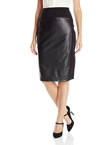 Calvin Klein Women's Essential Power Stretch Pleather Front Skirt, Black, Small