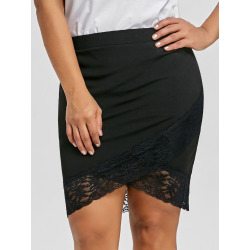 Plus Size Crossover Front Skirt