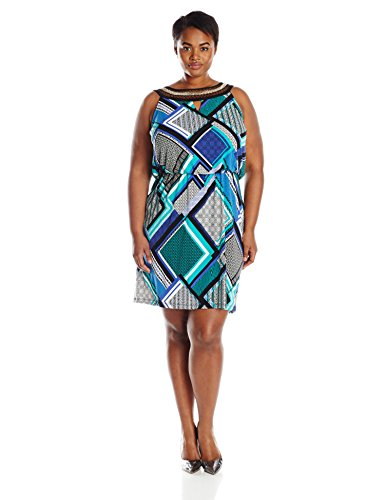 Sandra Darren Women's Plus-Size Embellished Neck Printed Blouson Dress, Jade/Blue/Multi, 24W