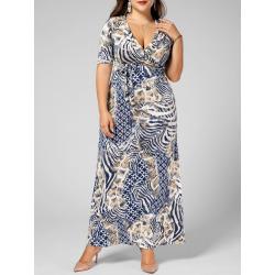 V Neck Printed Floor Length Plus Size Dress