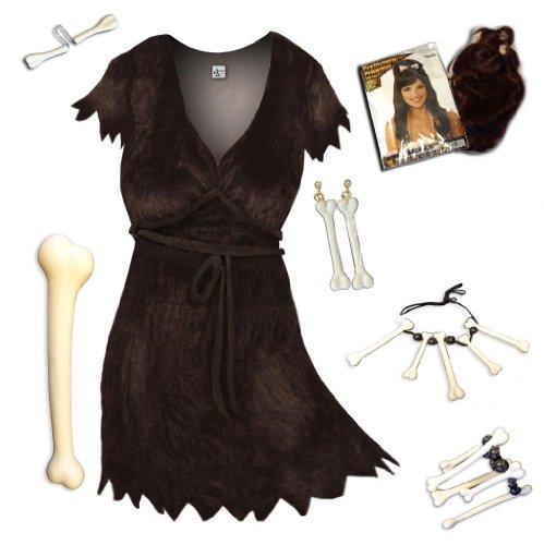 Sanctuarie Designs Women's Brown Cavewoman Deluxe Kit Plus Size Supersize Halloween Costume Dress Kit/0x/Brown/