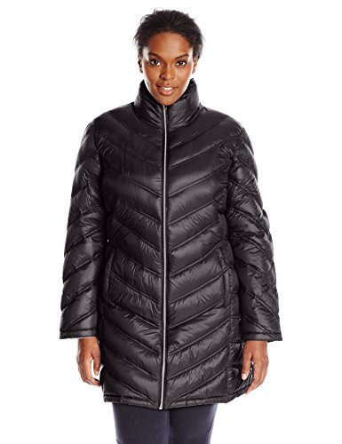 Calvin Klein Women's Plus-Size Chevron-Quilted Packable Down Coat Plus, Black, 3X