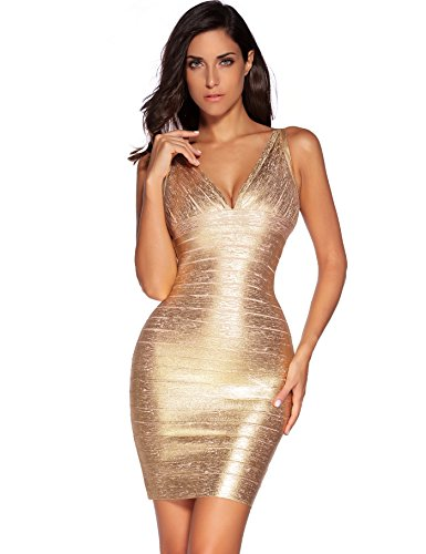 Meilun Women's Rayon Sexy V-Neck Bandage Bodycon Strap Green Foil Dress (X-Small, Gold)