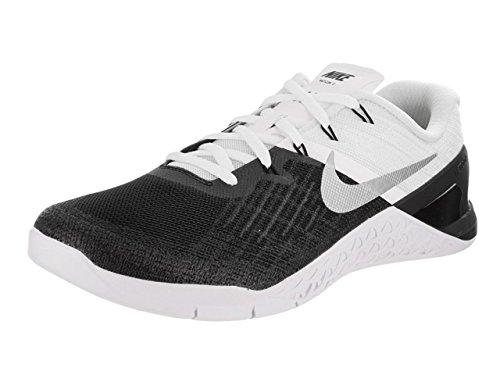 NIKE New Mens Metcon 3 Cross Training Sneaker (13, Black/White/Metallic Silver)
