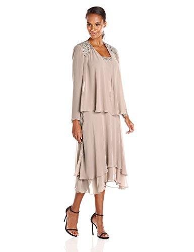 S.L. Fashions Women's Embellished Shoulder and Neck Jacket Dress, Cashmere, 16
