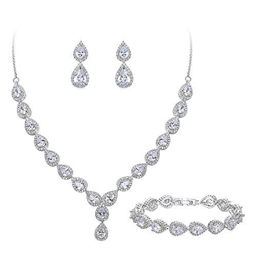 BriLove Wedding Bridal Necklace Bracelet Earrings Jewelry Set for Women Teardrop CZ Infinity Figure 8 Y-Necklace Tennis Bracelet Dangle Earrings Set Clear Silver-Tone April Birthstone