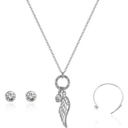 Angel Wing Necklace Earrings and Bracelet Set