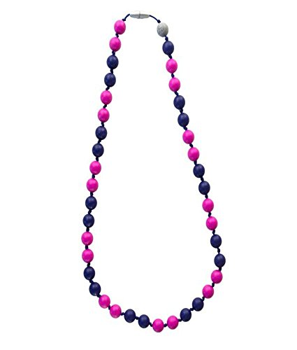 Itzy Ritzy Teething Happens Silicone Jewelry Necklace Bead, Prepster Chic