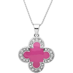 Marie Claire Jewelry Crystal Silver Tone Clover Pendant Necklace, Women's, Size: 17″, Lt Purple