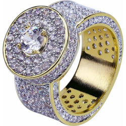 Hip Hop 18K Gold Plated Micro Pave Cubic Zircon Big Ring