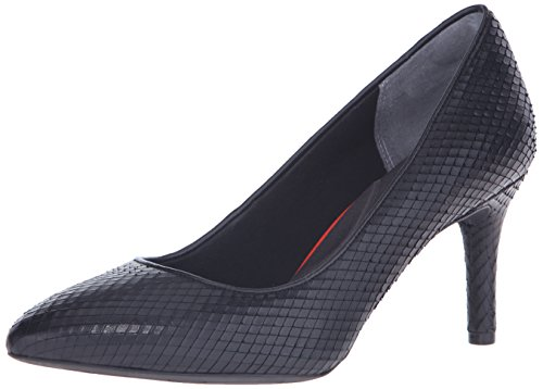 Rockport Women's Total Motion 75mm Pointy Toe Pump Black Diamond Snake 10 W (C)