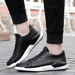 Black Sports Shoes Men's Lace Up Sneakers Outdoor Athletic Shoes Moccasin Shoes Business Shoes